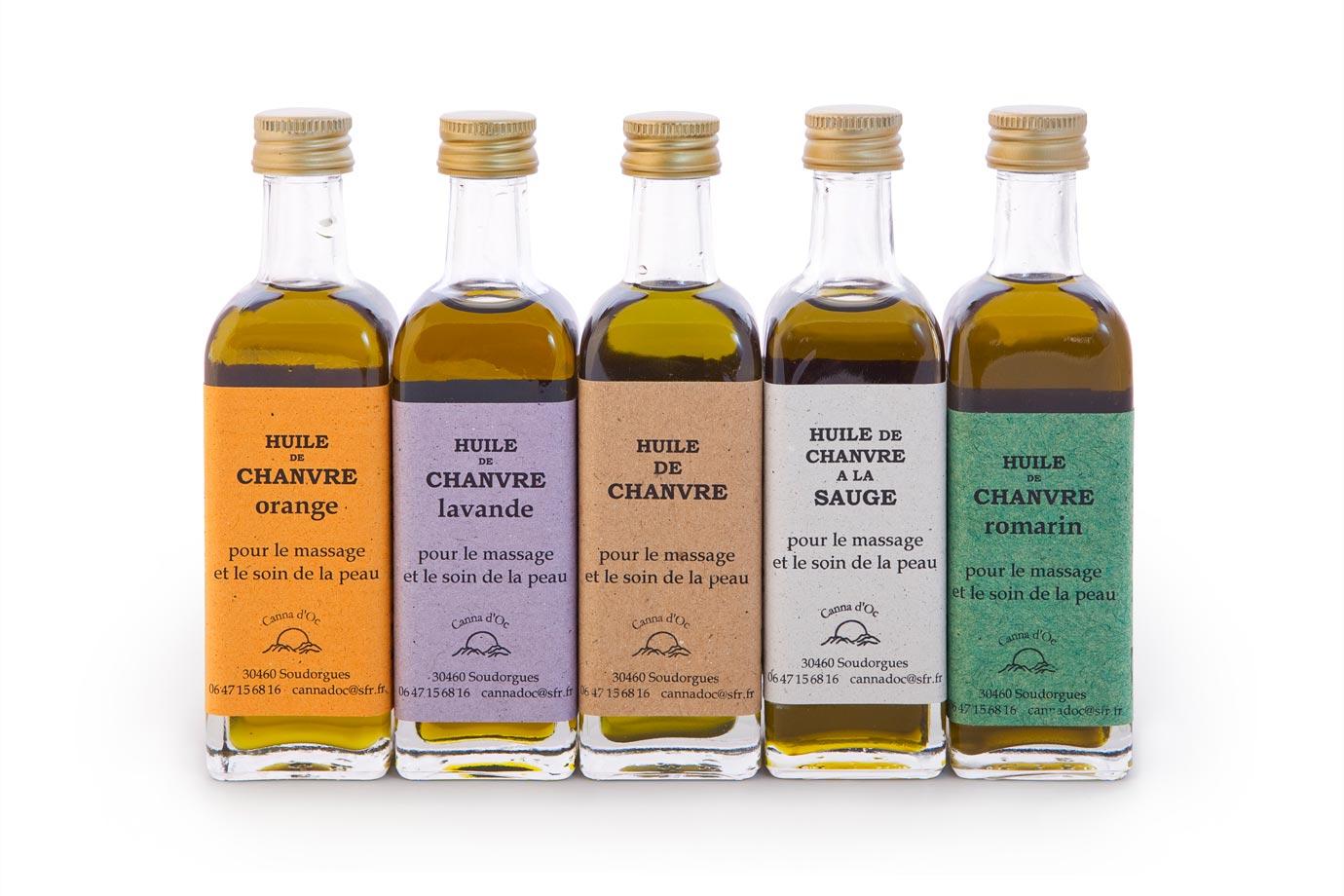 Cosmétique Canna d'Oc : les huiles de chanvre, nature ou avec adjonction d'huiles essentielles.